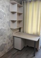 Рабочее место: письменный стол и стеллаж