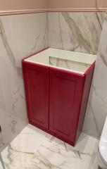 красная тумба в ванную