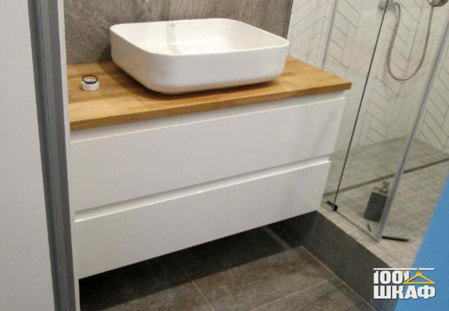 Тумба в ванную комнату из ЛДСП белого цвета