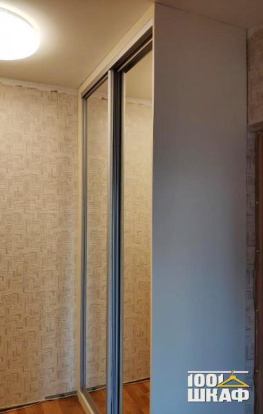 Зеркальный шкаф купе встроенный в нишу