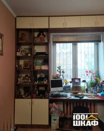 П-образный шкаф в комнату с антресолью